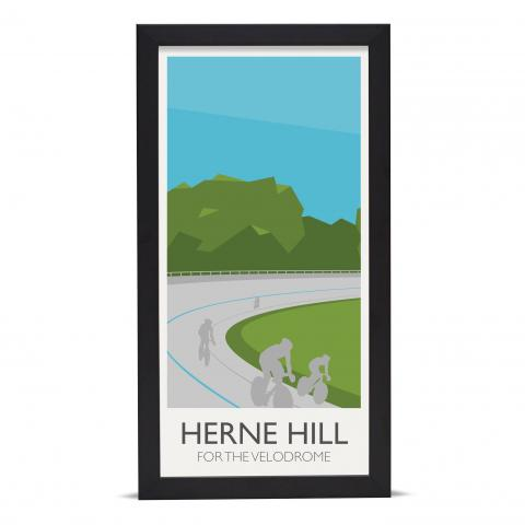Place in Print Herne Hill Lamppost Banners Velodrome Art Poster Print Black Frame