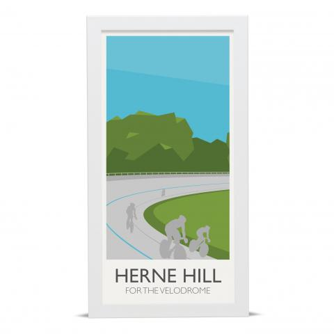 Place in Print Herne Hill Lamppost Banners Velodrome Art Poster Print White Frame
