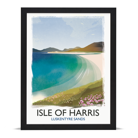 Place in Print Rick Smith Isle of Harris Travel Poster Art Print 30x40cm Black Frame