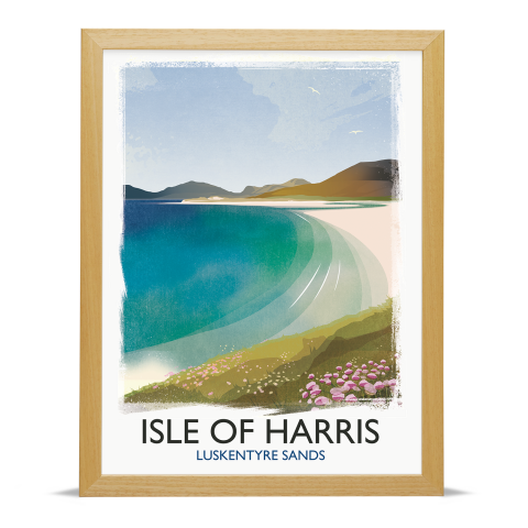 Place in Print Rick Smith Isle of Harris Travel Poster Art Print 30x40cm Wood Frame