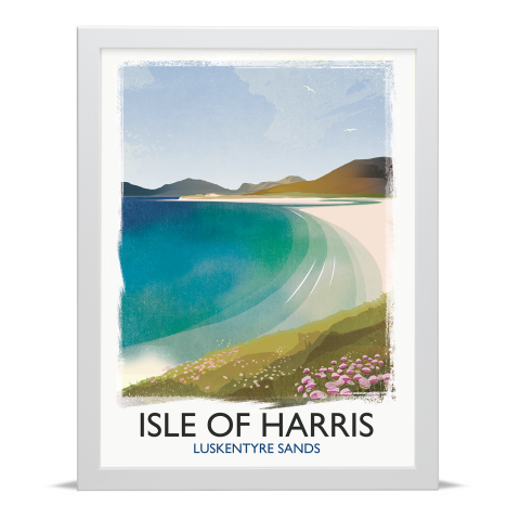 Place in Print Rick Smith Isle of Harris Travel Poster Art Print 30x40cm White Frame
