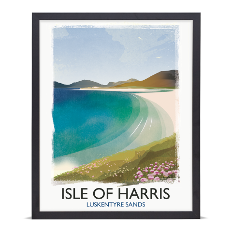 Place in Print Rick Smith Isle of Harris Travel Poster Art Print 40x50cm Black Frame