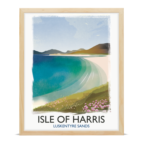 Place in Print Rick Smith Isle of Harris Travel Poster Art Print 40x50cm Wood Frame