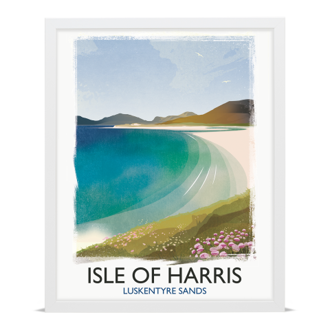 Place in Print Rick Smith Isle of Harris Travel Poster Art Print 40x50cm White Frame