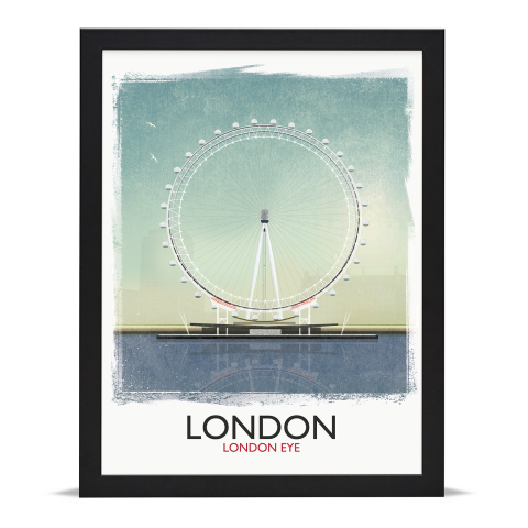 Place in Print Rick Smith London Eye (Day) Travel Poster Art Print 30x40cm Black Frame