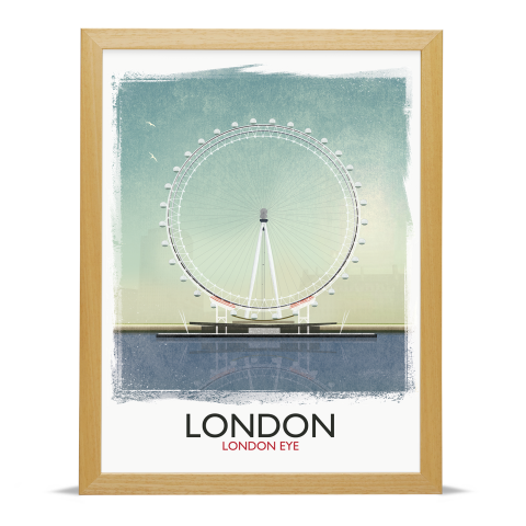Place in Print Rick Smith London Eye (Day) Travel Poster Art Print 30x40cm Wood Frame