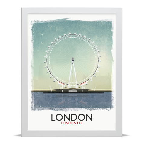 Place in Print Rick Smith London Eye (Day) Travel Poster Art Print 30x40cm White Frame