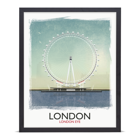 Place in Print Rick Smith London Eye (Day) Travel Poster Art Print 40x50cm Black Frame