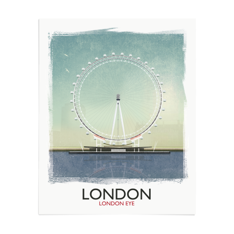 Place in Print Rick Smith London Eye (Day) Travel Poster Art Print 40x50cm Print-only