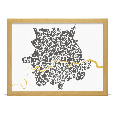 Place in Print London Postcodes Black Gold Art Poster Print Wood Frame