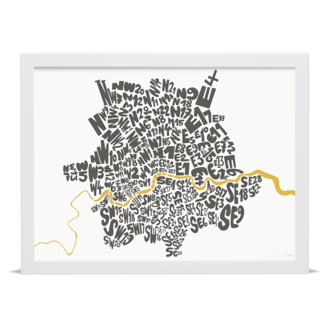 Place in Print London Postcodes Black Gold Art Poster Print White Frame