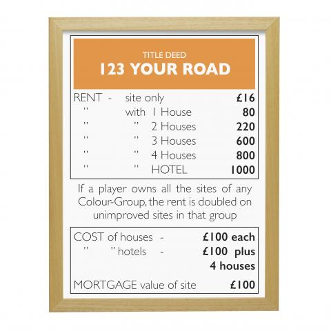 Place in Print Personalised Monopoly Property Title Deed Art Poster Print Wood Frame