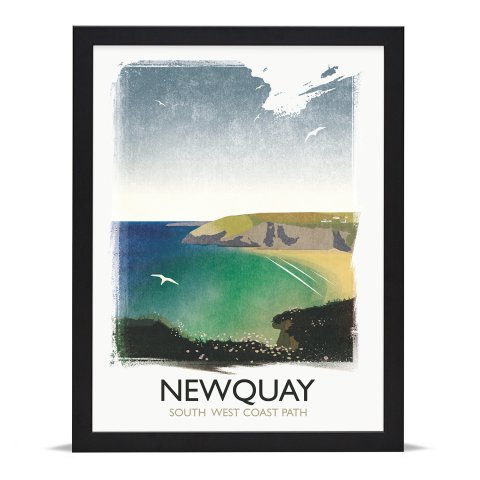 Place in Print Rick Smith Newquay Travel Poster Art Print 30x40cm Black Frame
