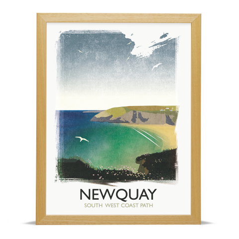 Place in Print Rick Smith Newquay Travel Poster Art Print 30x40cm Wood Frame