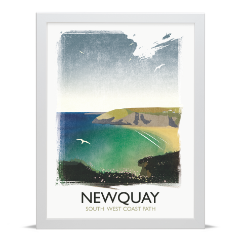 Place in Print Rick Smith Newquay Travel Poster Art Print 30x40cm White Frame