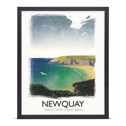 Place in Print Rick Smith Newquay Travel Poster Art Print 40x50cm Black Frame