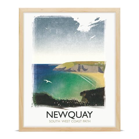 Place in Print Rick Smith Newquay Travel Poster Art Print 40x50cm Wood Frame