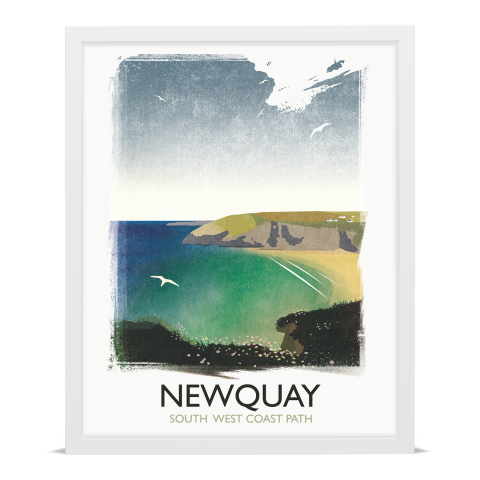 Place in Print Rick Smith Newquay Travel Poster Art Print 40x50cm White Frame