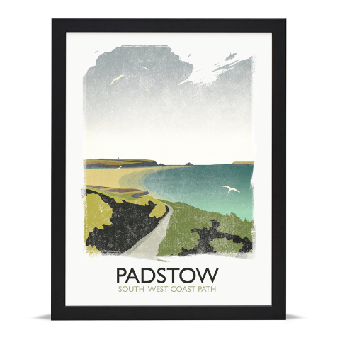 Place in Print Rick Smith Padstow Travel Poster Art Print 30x40cm Black Frame