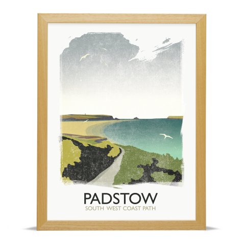 Place in Print Rick Smith Padstow Travel Poster Art Print 30x40cm Wood Frame