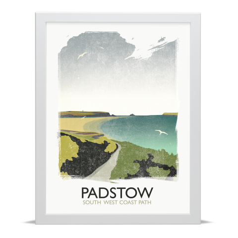 Place in Print Rick Smith Padstow Travel Poster Art Print 30x40cm White Frame