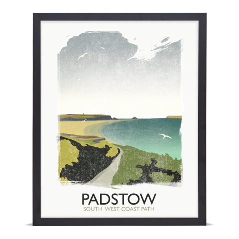 Place in Print Rick Smith Padstow Travel Poster Art Print 40x50cm Black Frame