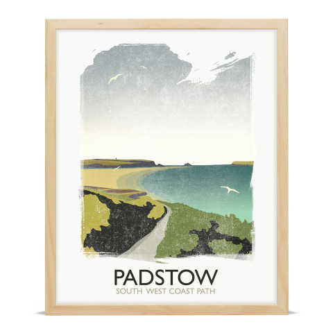 Place in Print Rick Smith Padstow Travel Poster Art Print 40x50cm Wood Frame