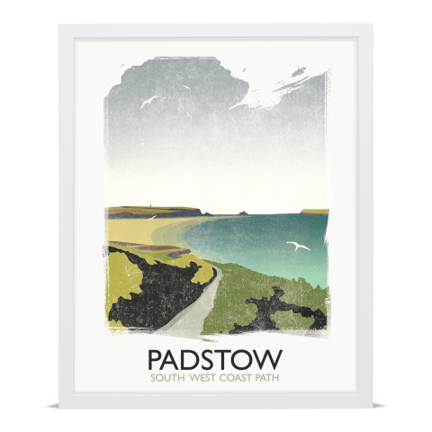 Place in Print Rick Smith Padstow Travel Poster Art Print 40x50cm White Frame