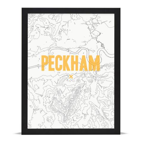 Place in Print Peckham Contours Gold Art Print Black Frame