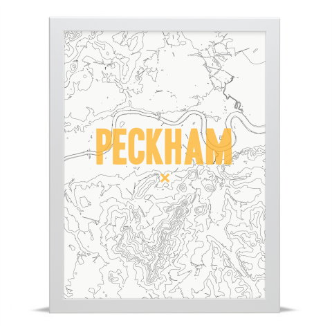 Place in Print Peckham Contours Gold Art Print White Frame