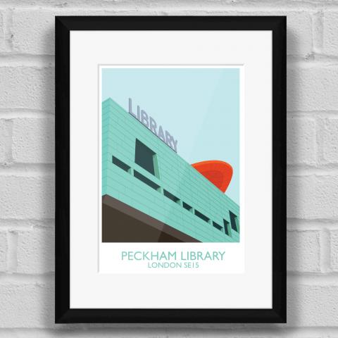 Peckham Library Art Poster Print Black Frame