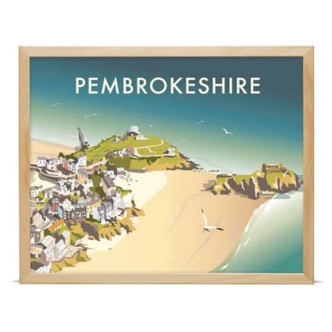 Place in Print Dave Thompson Pembrokeshire Travel Poster Art Print Wood Frame