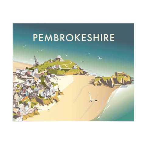 Place in Print Dave Thompson Pembrokeshire Travel Poster Art Print Unframed