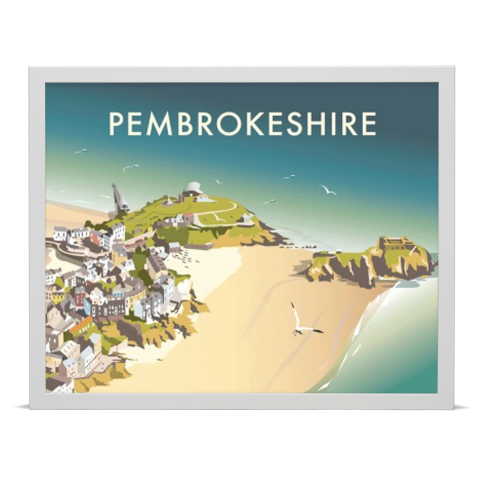 Place in Print Dave Thompson Pembrokeshire Travel Poster Art Print White Frame