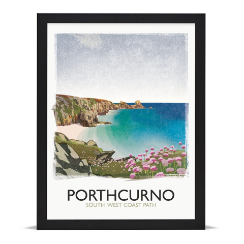 Place in Print Rick Smith Porthcurno Travel Poster Art Print 30x40cm Black Frame
