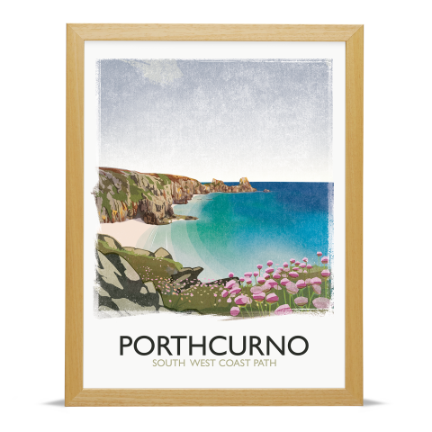 Place in Print Rick Smith Porthcurno Travel Poster Art Print 30x40cm Wood Frame