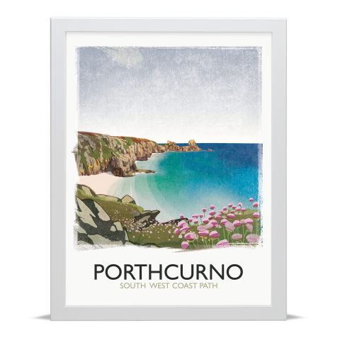 Place in Print Rick Smith Porthcurno Travel Poster Art Print 30x40cm White Frame