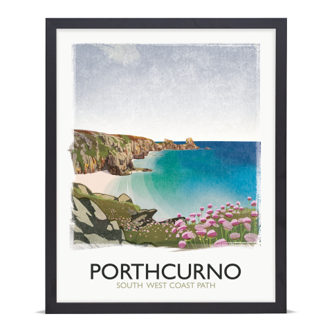 Place in Print Rick Smith Porthcurno Travel Poster Art Print 40x50cm Black Frame
