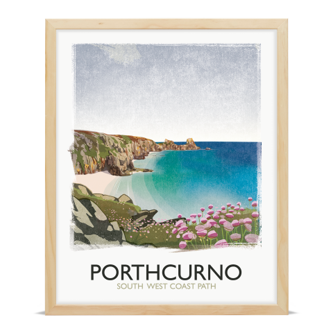 Place in Print Rick Smith Porthcurno Travel Poster Art Print 40x50cm Wood Frame