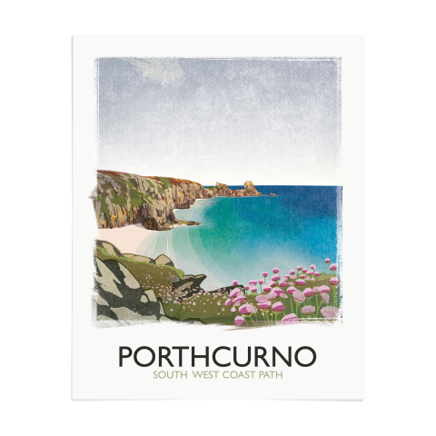 Place in Print Rick Smith Porthcurno Travel Poster Art Print 40x50cm Print-only