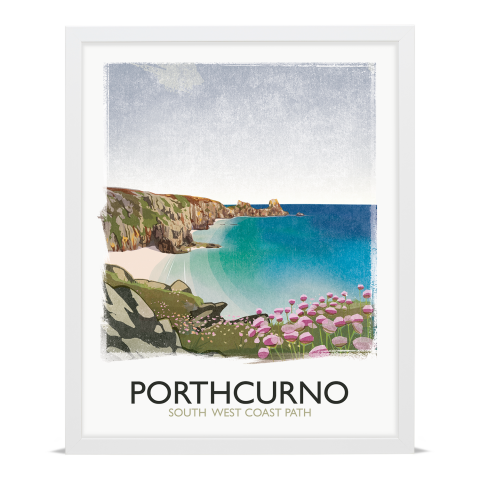 Place in Print Rick Smith Porthcurno Travel Poster Art Print 40x50cm White Frame