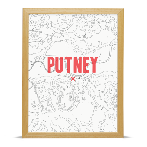 Place in Print Penge Contour Map Art Print Red Wood Frame