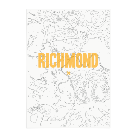 Place in Print Richmond Contours Gold Art Print Unframed