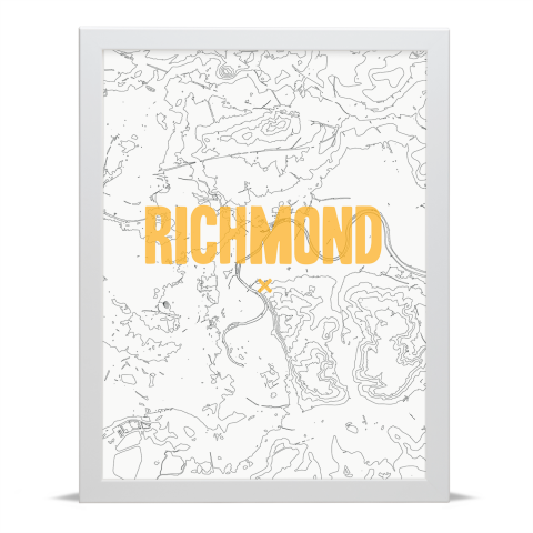 Place in Print Richmond Contours Gold Art Print White Frame