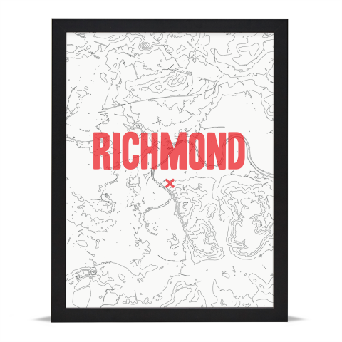 Place in Print Richmond Contours Red Art Print Black Frame