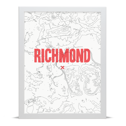 Place in Print Richmond Contours Red Art Print White Frame