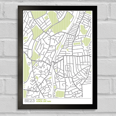 SE23 Forest Hill Typographic Map Art Poster Print Black Frame