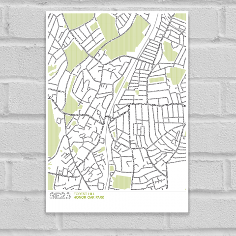 SE23 Forest Hill Typographic Map Art Poster Print Unframed