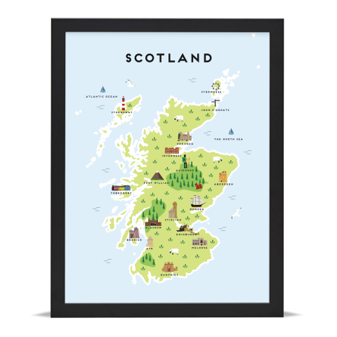 Place in Print Pepper Pot Studios Scotland Illustrated Map Art Print Black Frame