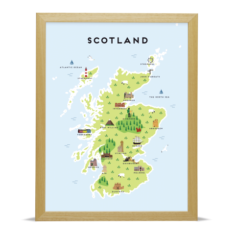 picture about Printable Map of Scotland known as Scotland Illustrated Map Archival Print